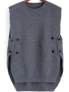 Shop Grey Round Neck Buttons Knit Sweater online. SheIn offers Grey Round Neck Buttons Knit Sweater