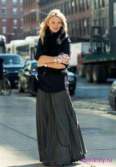 Макси юбка с ботинками