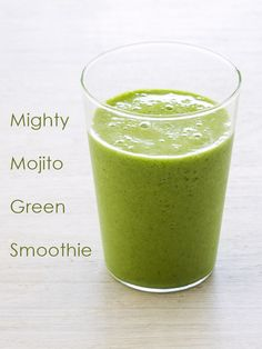 A Mighty Mojito Green Smoothie Recipe from The Blender Girl Smoothies Cookbook. The recipe is anti-inflammatory, detoxifying, immune-boosting, vegan, paleo, and did I mention, delicious?!