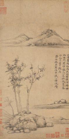 Wind among the Trees on the Riverbank - Ni Zan (倪瓚, 1301-1374)
