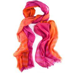 Ladies Silk Scarf, Ladies Silk and Wool Scarf, Pink and Orange Scarf