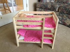 Doll bunk bed Home improvement projects by Ana White bed - Diyprojectgardens.club - Doll bunk bed Home improvement projects from Ana White bed … - Barbie House Furniture, Doll Furniture, Dollhouse Furniture, Bedroom Furniture, Furniture Ideas, Miniature Furniture, Diy Bedroom, Ana White Furniture, Homemade Furniture