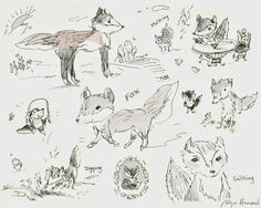 Blipadee: My Sketchbook : Easter : Chick, Bunnies, Fox & foxes