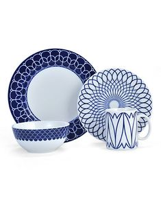 Add style to your casual dining with the fresh, modern look of Mikasa& Lavina Cobalt Dinnerware Collection. Its fanciful, graphic patterns in eye-catching deep cobalt blue and white on porcelain will enliven any meal. Casual Dinnerware, Blue Dinnerware, Stoneware Dinnerware, Mikasa, Blue Dinner Plates, White Wine Glasses, Blue Bowl, Crystal Vase, Flatware Set