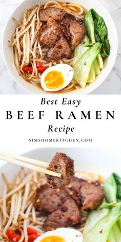 It's savory and satisfying, thanks to thick ramen noodles, tender beef, crisp bok choy and bean sprouts. This is the best, easy beef ramen recipe you'll find. #ramen #beeframen #easyramen #healthy @simshomekitchen | simshomekitchen.com Beef Ramen Recipe, Ramen Recipes, Asian Recipes, Beef Recipes, Chicken Recipes, Cooking Recipes, Japanese Recipes, Noodle Recipes, Restaurant Dishes