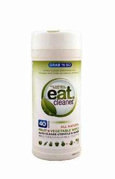 Eat Cleaner Grab N' Go Fruit + Vegetable Wipes-40 ct by Grow Green Industries, Inc. $7.25. 8 x 3 x 3. Multi-Pack. Eat Cleaner Grab N' Go Fruit + Vegetable WipesA great way to enjoy healthy snacking on the go. (No rinsing required).The perfect fruit wash and vegetable wash to clean pesticides, waxes and dirt from fresh produce while on the go. Great for picnics, hiking, road trips, plus post -shopping fruit fixes and more.. Save 39%!