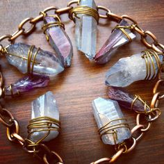 Blue and Purple Quartz wire wrapped Crystal necklace
