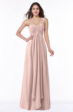Elegant A-line Asymmetric Neckline Chiffon Floor Length Ruching Plus Size Bridesmaid Dresses