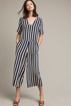 Slide View: 1: Hart Striped Silk Jumpsuit