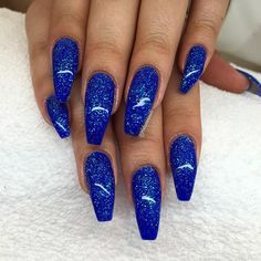 What you need to know about acrylic nails - My Nails Cobalt Blue Nails, Blue Glitter Nails, Ocean Blue Nails, Blue Acrylic Nails, Summer Acrylic Nails, Blue Nail Designs, Acrylic Nail Designs, Art Designs, Cute Nails