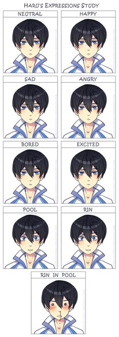 baha I love it XD, just add a few  more frames for * MAKOTO* *MAKO AND RIN* and *MAKO AND RIN IN POOL* Free - Haru's expressions study by Tenshi-no-Hikari.deviantart.com on @deviantART