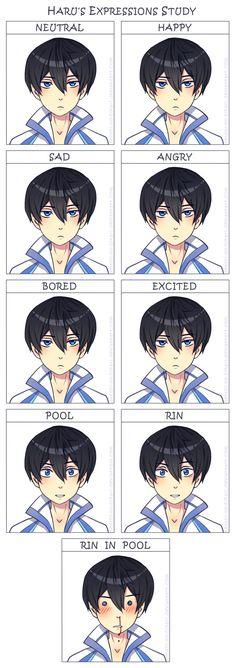 Free - Haru's expressions study by Tenshi-no-Hikari.deviantart.com on @deviantART