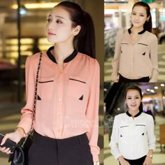 New Casual Fashion Women Top Button Shirt Chiffon Girls Blouse Office Shirts Sheer Tops
