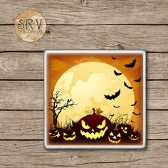 Spooky Pumpkins Drink Coasters, Halloween Handmade Design, Ceramic Tiles, Gift, Beer Coaster, Party Favor, Full Moon and Bats, Made To Order by SRVintageandDesigns on Etsy