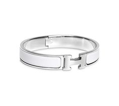 "Clic H Hermes narrow bracelet White enamel Silver and palladium plated hardware, 2.5"" diameter, 8"" circumference, 0.5"" wide."