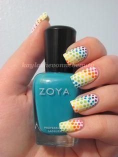 rainbow dots manicure