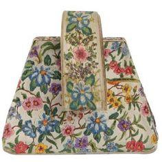 Vintage Hand-Painted Floral Structured Bag