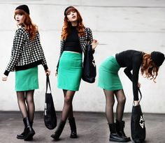 Sheinside Green Pencil Skirt, Rocketdog Boots, 5preview Tote Bag, Motel Rocks Crop Turtleneck Top, Cubus Jacket, Monki Beanie