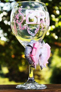 Rhinestone Personalized Bride Custom Name Bridal Wedding Shower Bachelorette Bridesmaid Groom Groomsman Marriage Wine Glass. $26.99, via Etsy.
