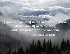 If you find yourself in the middle of a storm, dress yourself with courage,  and look forward to the rainbow. / ~ Matshona Dhliwayo