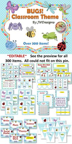 This editable classroom theme bundle is just cute as a bug! It includes everything you will need to have a well organized and coordinated classroom. There are over 130 pages in this bundle and more than 300 individual items. The bug theme includes the following bugs: butterfly, damselfly, bee, dragonfly, ladybug, snail, grasshopper, and spider. The background is sky blue with white daisies.
