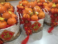 Chinese New Year orange basket gift Chinese Decorations, Fruit Hampers, Chinese New Year Gifts, Fruit Gifts, Basket Gift, Orange Fruit, Fruits Basket, Cute Food, Gift Packaging