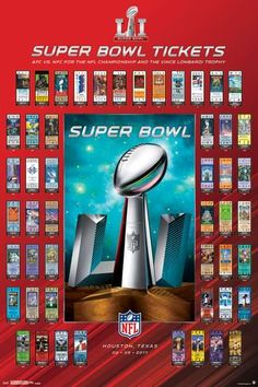 """NFL Football Super Bowl 51 Ticket Collection wall poster art print affiliate 24"""" x 36"""""""