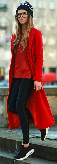Top| Sweater| Cable knit| Red| Coat| Wool| Long sleeve| Floor length| Leggings| Black| Shoes| Flats| Converse| Vans| White| Patterned| Beanie| Nail| Yellow| Fall| Autumn| Winter| P571
