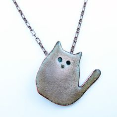 Sweet Grey Cat Necklace by Robbin Bowler