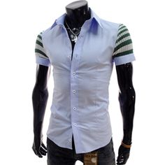 (CE104-SKY) Slim Fit Knit Patched Short Sleeve Stretchy Shirts