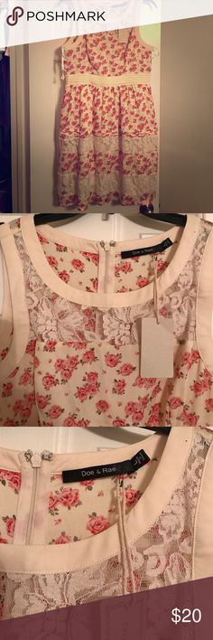 Doe & Rae Large floral dress Doe & Rae brand floral dress, cream colored with pink roses. Size Large. From Mod cloth. brand new. Never worn. Runs small for a size large in my opinion. doe & rae Dresses