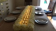 Wedding decorations for special table diy centerpieces videos DIY- easy table runner centerpiece Diy Centerpieces, Diy Wedding Decorations, Small Wedding Decor, Diy Wedding Table Decorations, Bling Wedding Centerpieces, Bling Centerpiece, Long Table Wedding, Diy Wedding Tables, Wedding Ideas