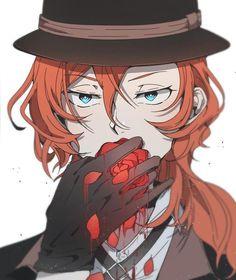 Roses are red, violets are blue, I'm a gangster and I'm going to kill you ★ Manga Anime, Manga Art, Anime Art, Stray Dogs Anime, Bongou Stray Dogs, Anime Love, Anime Guys, Chuuya Nakahara, Dazai Osamu