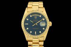 Rolex Day-Date *Single-Quick* in 18k Gelbgold mit Box & Papieren aus 1980  Präsident Band, Blaues Zifferblatt mit Diamantbesatz (nicht orig. Rolex), Lünette mit Diamantbesatz (nicht orig. Rolex)    Referenz: 18038   6,9 Mio-Serie   Ø 36 mm  http://www.juwelier-leopold.de/uhren/rolex/day_date.html