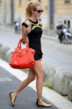 Gold, black and coral embellished love