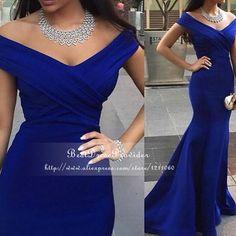 Chegada nova sereia azul Royal vestido longo V pescoço até o chão mulheres Evening vestidos árabe 2015 em Vestidos de Noite de Casamentos e Eventos no AliExpress.com | Alibaba Group