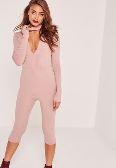 Missguided - Pink Ribbed Choker Neck Detail 3/4 Leg Jumpsuit