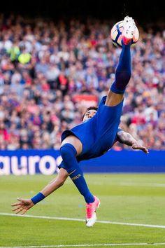 51ad8b60995 Neymar Santos Jr of FC Barcelona tries an overhead kick during the La Liga  match between FC Barcelona and Villarreal CF at Camp Nou stadium on May  2017 in ...