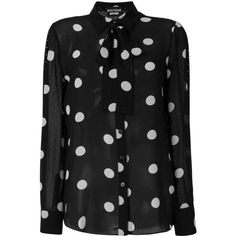 Boutique Moschino polka dot blouse (€450) ❤ liked on Polyvore featuring tops, blouses, black, dot blouse, polka dot top, silk blouse, boutique moschino and silk tops