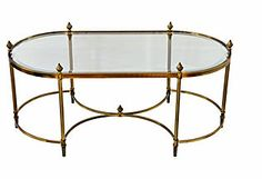 Brass &  Glass Cocktail   Table