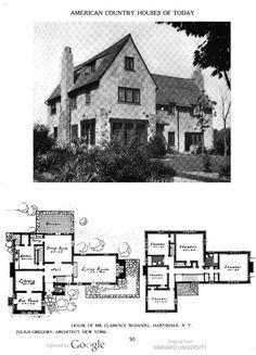 Julius Gregory - image of page 50 Architectural Floor Plans, Architectural Prints, Vintage House Plans, Vintage Homes, Old House Design, Storybook Homes, Vintage Architecture, House Blueprints, Sims House