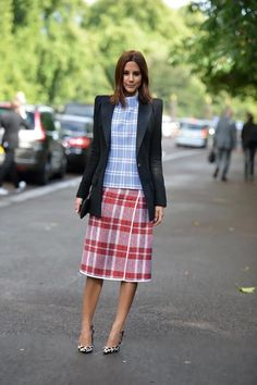 Christine Centenera wearing Balmain blazer with Celine top, skirt, shoes and clutch.