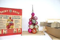 Shiny Brite Cluster Tree Vintage Glass Christmas Ornaments in Original Box~~