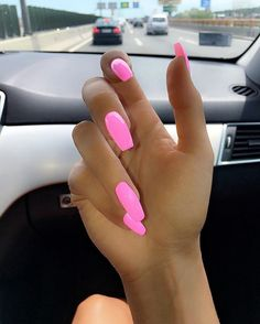 Acrylic nails coffin bright awesome beautiful & pretty pink long nails nail designs in 2019 Pink Acrylic Nails, Neon Nails, Hot Pink Nails, Bright Pink Nails, Bright Nails For Summer, Pink Acrylics, Bright Yellow, Bright Summer Gel Nails, Summer Nail Colors