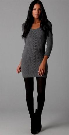 6dbad2efcdc Nice sweater dress with leggings 2017-2018 Cute Outfits With Leggings