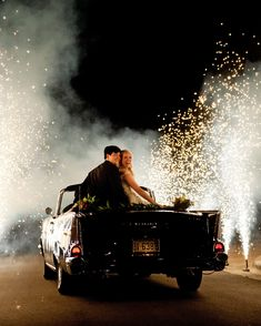 From dramatic fireworks shows to cakes topped with sparklers, see how these real couples threw dazzling weddings. Get inspiration for a grand exit, a first dance, a holiday celebration, and more. Car Themed Wedding, Wedding Getaway Car, Wedding Exits, Wedding Ceremony, Reception, Wedding Send Off, Best Wedding Favors, Wedding Ideas, Wedding Details