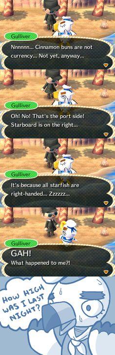 I think Gulliver before sleep he always do something with something green...