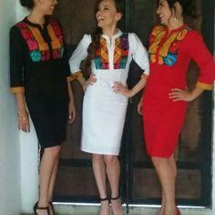 Tela: Lino o gabardina de algodón Tipo de bordado: A mano con aguja o gancho Región en que elabora: Istmo de Tehuantepec, Oaxaca, México Diseño: Vestido en corte a la cintura con cuello Mao, falda recta y manga 4/3