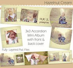 Hazelnut Cream - 3x3 Mini Accordion Album PSD Template Design. $7.00, via Etsy.