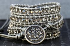 wrap bracelet- silver smoke crystal on silver leather- beaded leather 5 wrap bracelet